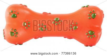Bone rubber toy for dogs orange with green paws