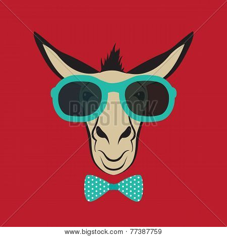 Vector Image Of A Donkey Wearing Blue Glasses.
