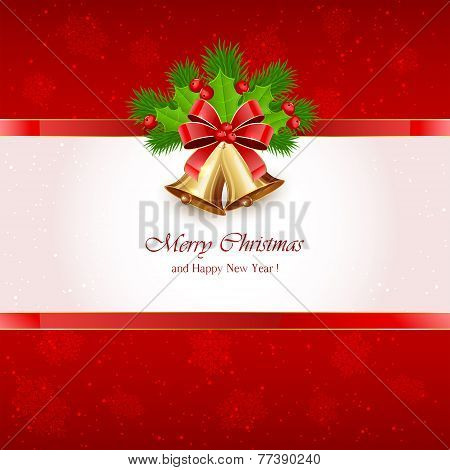 Red Christmas Background With Bells