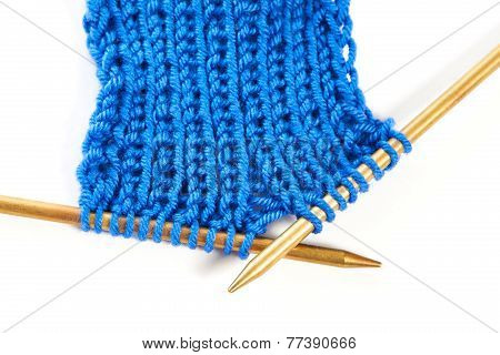 Two Spokes With Knit Woolen Cloth Isolated