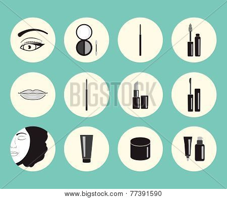 Vector Illustration On Makeup Theme.