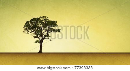 Slightly Grungy Landscape Illustration with Lone Tree