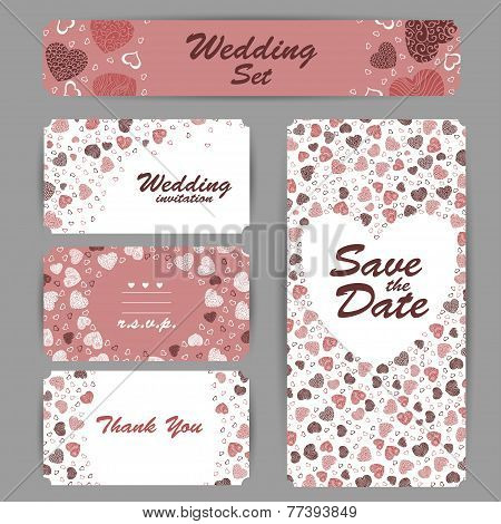 Wedding invitation, thank you card, save the date cards. RSVP card