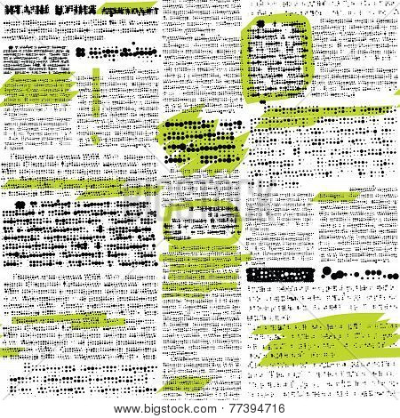 Imitation of newspaper with marks.