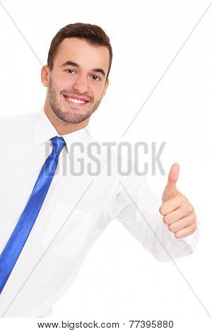 A picture of a young confident businessman showing ok sign over white background