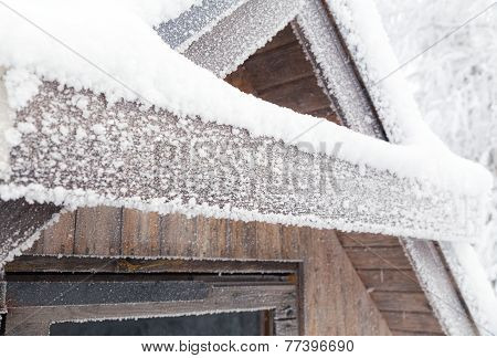 Plate covered with frost and snow.