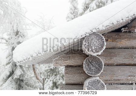 The wall and edge roof of hut