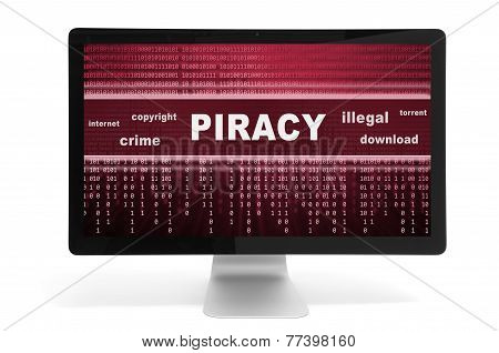 Piracy Message On A Screen