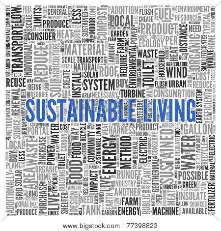Close up Blue SUSTAINABLE LIVING Text at the Center of Word Tag Cloud on White Background.