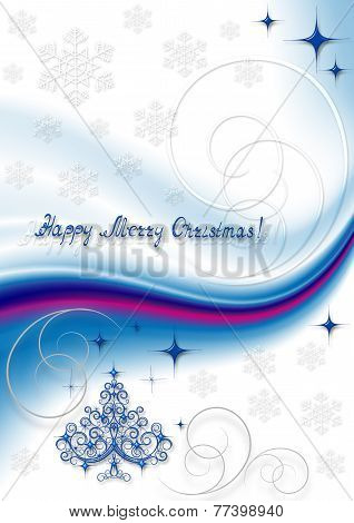 Blue openwork Christmas tree with snowflakes and stars on white with blue crimson wave background