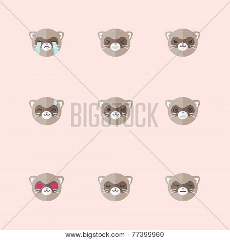 Vector Minimalistic Flat Ferret Emotions Icon Set