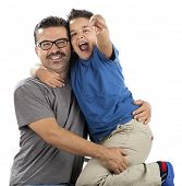 picture of pre-adolescent child  - Happy Child and his Father - JPG