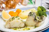 image of cod  - Steamed Atlantic Cod fish with olive oil and garlic  - JPG