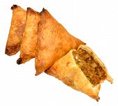 image of samosa  - Spicy lamb and vegetable samosas isolated on a white background - JPG