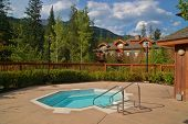 image of hot-tub  - hot tub and vacation condos at a ski resort in summer - JPG