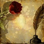 picture of inkwells  - Vintage grunge background with rose and inkwell with pen - JPG