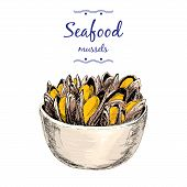 Постер, плакат: Seafood Mussels