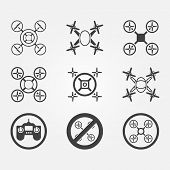 stock photo of drone  - Quadrocopter vector icons set  - JPG