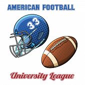 stock photo of football helmet  - Blue helmet with the number and the ball for American football on a white background - JPG