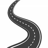 picture of long distance  - Winding asphalt road with markings leading into the distance on a white background - JPG