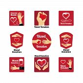 stock photo of hemoglobin  - Labels and badges donating blood on a white background - JPG
