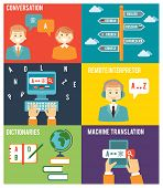 image of dialect  - Colorful Flat Style Graphic Design of Learning Foreign Language Concept - JPG