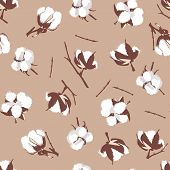 picture of boll  - Cotton bolls beige seamless vector pattern - JPG
