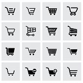pic of gift basket  - Vector black shopping cart icon set on grey background - JPG