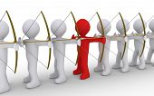 stock photo of archer  - Many archers in line but one is of different color - JPG