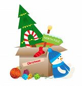 stock photo of box-end  - Cardboard box with Christmas decorations are ready to get into storage - JPG