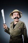 picture of safari hat  - Man in safari hat in hunting concept - JPG