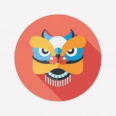 picture of dragon head  - Chinese New Year Flat Icon With Long Shadow the Dragon And Lion Dancing Head - JPG