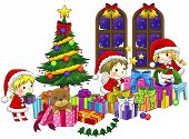 image of elf  - Cute little elves are celebrating Christmas in isolated background with black outline created by vector - JPG