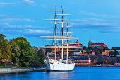 image of tall ship  - Scenic summer evening view of the Old Town  - JPG