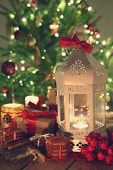 image of desert christmas  - shining candles with christmas decorations - JPG
