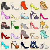 stock photo of peep toe  - Set of 25 fashionable shoes on beige background - JPG