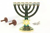 picture of torah  - Jewish candlestick and Torah scroll in front of white background - JPG