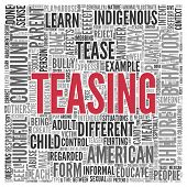 picture of tease  - Close up Red TEASING Text at the Center of Word Tag Cloud on White Background - JPG