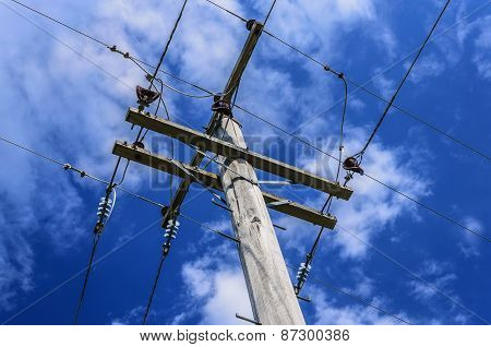 Power Lines For Power Pole Electricity Grid