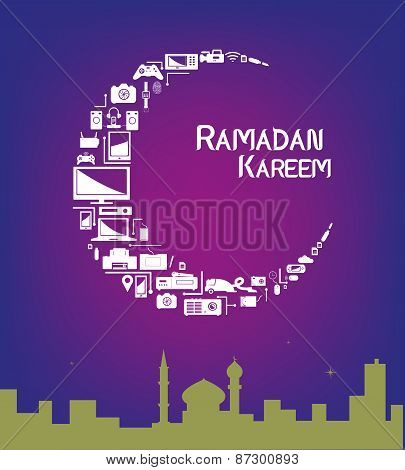 Ramadan Kareem Crescent Moon Made of Electronic Products