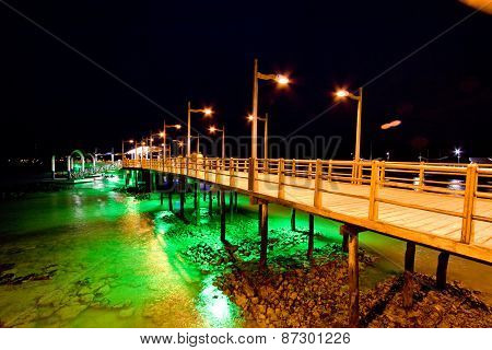 Pier of Baquerizo Moreno Port in Galapagos at night