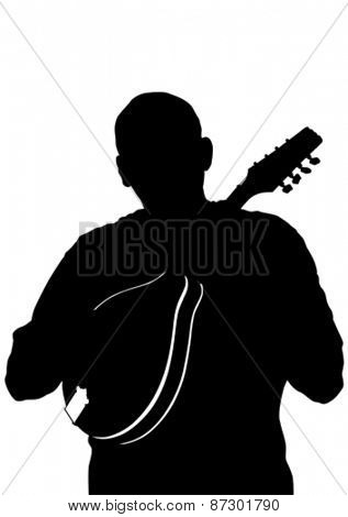 Man whit mandolin in country style on white background