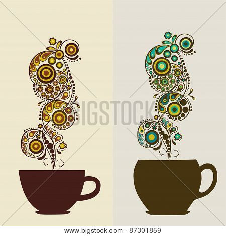 Card With Cups For Tea And Coffee