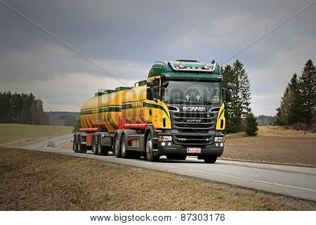 Landscape Of Scania R500 Tank Truck On The Road