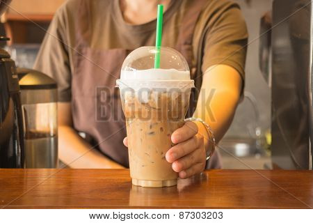 Plastic Glass Of Iced Coffee Cappuccino