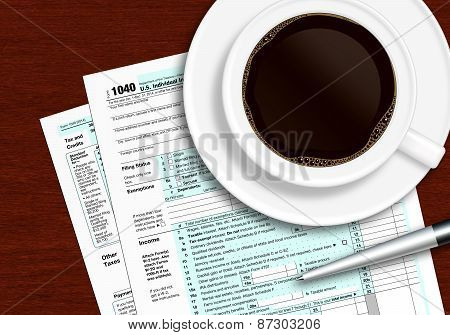 Tax Form 1040 With Pen And Coffee On Wooden Table