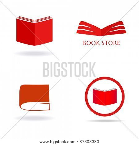 Book store or library logo signs set. Red book icons