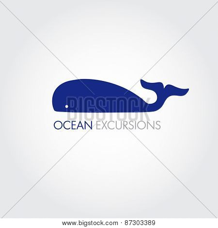 Vector image of a big whale. Whale logo for your business.
