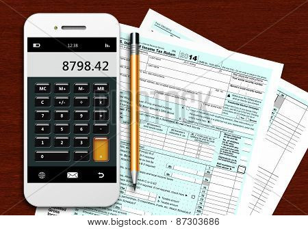 Tax Form 1040 With Phone Calculator And Pencil On Wooden Table
