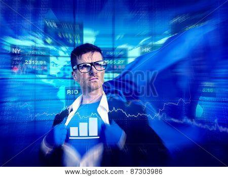 Chart Strong Superhero Success Professional Empowerment Stock Concept